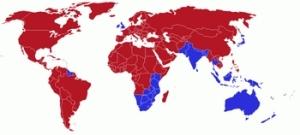 mapa mundi com mão inglesa indicada nos países em azul