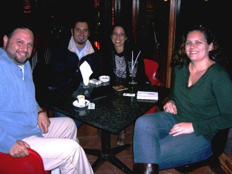 No restaurante Novo Milano: Eduardo, Pedro, Sonia e Sandra