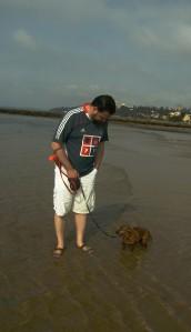 Eduardo com Otto na água