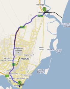 trajeto de Maputo para Macaneta