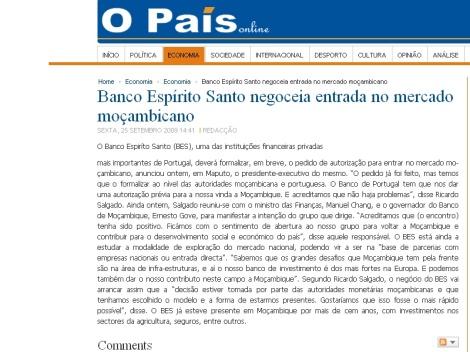negoceia na manchete do jornal O País