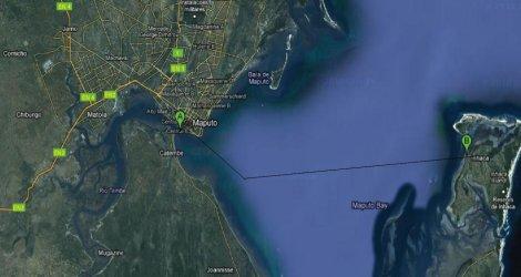 Mapa da baía de Maputo, com trajeto Maputo -  Inhaca