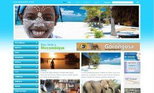 página inicial do site de turismo em Moçambique