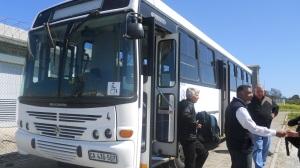 saída do ônibus em Robben Island