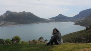 Sandra com Hout Bay ao fundo