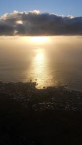 pôr do sol na Table Mountain
